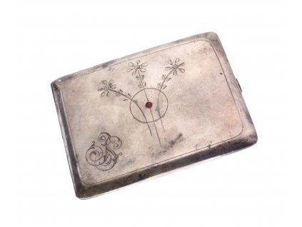 Stříbrná tabatěrka s rubínem x1393 (4)