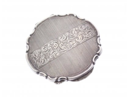Starožitná stříbrná pudřenka gravírovaná x1395 (1)