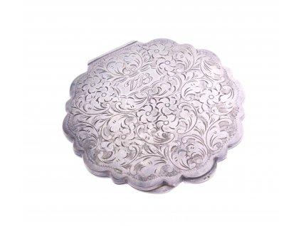 Pudřenka gravírovaná stříbrná x1396 (1)