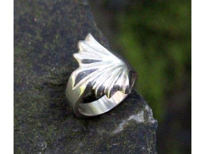 Starý stříbrný prsten list x1627 (3)