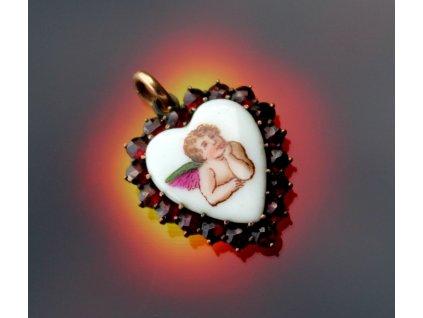 Granátové srdíčko s andělíčkem x1652 (1)