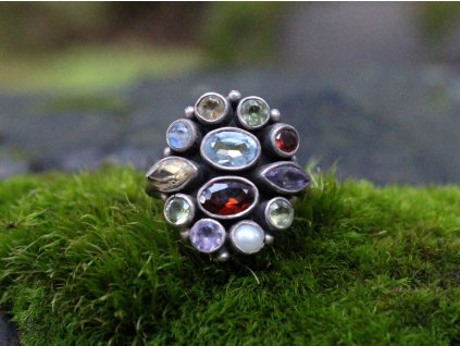 Stříbrný prstýnek barevné kamínky x1694 (2)