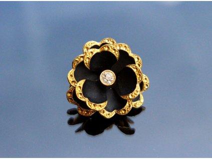Brož černá zlacená květina y102 8 (2)