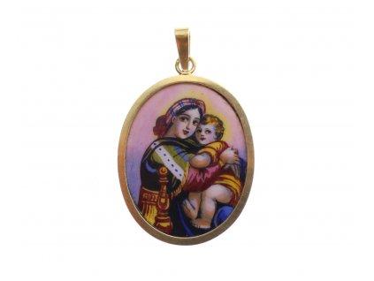 Zlatá starožitná Madonka s Ježíškem x1794 (1)
