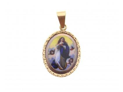 Zlatá starožitná Madonka s andělíčky x1819 (1)