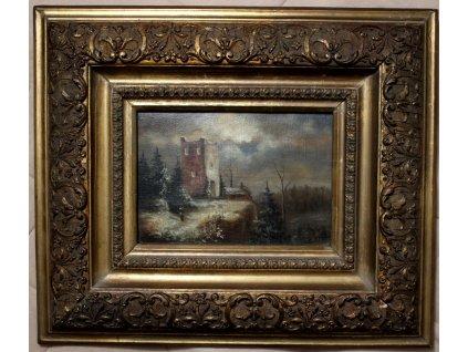 Obraz Hugo Ullik olej na plátně ZŘÍCENINA (2)