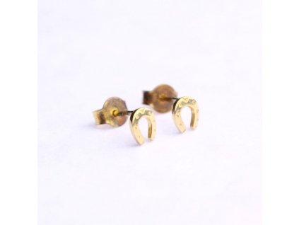 Zlaté náušnice podkovy pros štěstí x2082 (4)