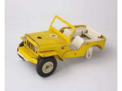 Staré plechové auto žluté JEEP hračka y230 6 (7)