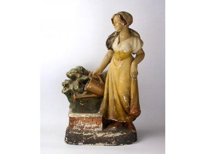 Pálená sádra dívka soška na zrcadlo (1)
