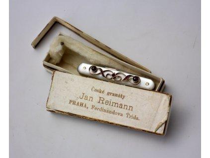 Starožitný perletový skladací nůž zdobený granáty (4)