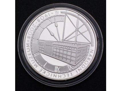 Stříbrná pamětní mince 200 Kč Národní technické museum 1908-2008 PROOF
