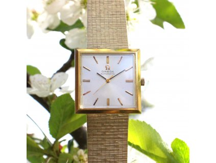 Zlaté hodinky OMEGA AUTOMATIC SQUARE 18K čtverec