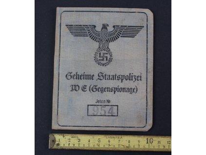 Průkazka Ausweis Geheime Staatspolizei GESTAPO Sigfrid Hack