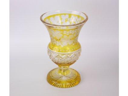 Broušená žlutá váza