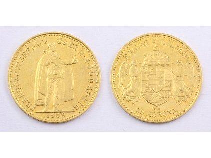 Zlatá mince Desetikoruna Františka Josefa I. Rakouská ražba 1909