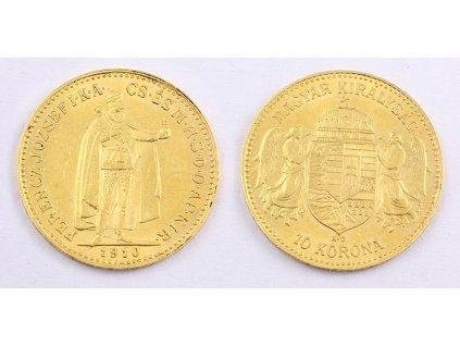 Zlatá mince Desetikoruna Františka Josefa I. Uherská ražba 1910 2