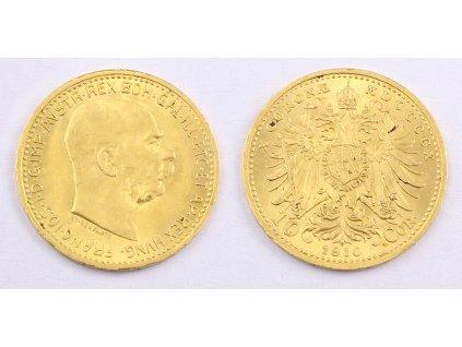 Zlatá mince Desetikoruna Františka Josefa I. Uherská ražba 1910 3