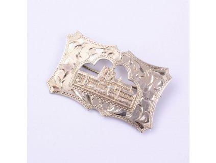 Stříbrná starožitná brož PRAHA