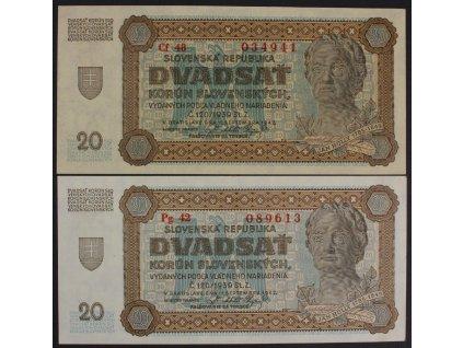 35411 20 ks 1942 s cf a pg ruzny papir unc