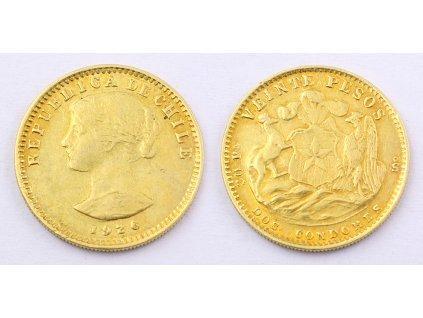 Zlatá mince CHILLE 20 PESOS 1926