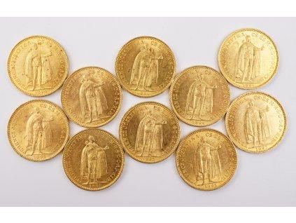 Sada zlatých mincí 10 kusů 20 koruna František Josef I FJI 1894, 1895, 1897, (1)