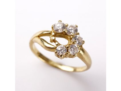 Zlatý prstýnek s kamínky v52