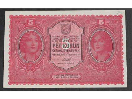 5 Kč 1919 krásná jednou přeložená