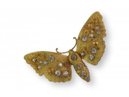 Brož Můra motýl chybí zapínaní a kamínky (1)