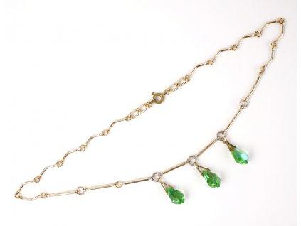 Starožitný bižuterní náhrdelník s kamínky 44 cm