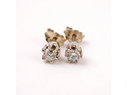 Zlaté naušnice bíle zlato diamanty