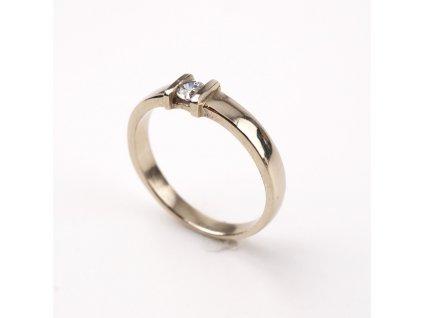Zlatý prstýnek bílé zlato s kamínkem
