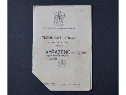 TECHNICKÝ PRŮKAZ ŠKODA 100l TYP 722