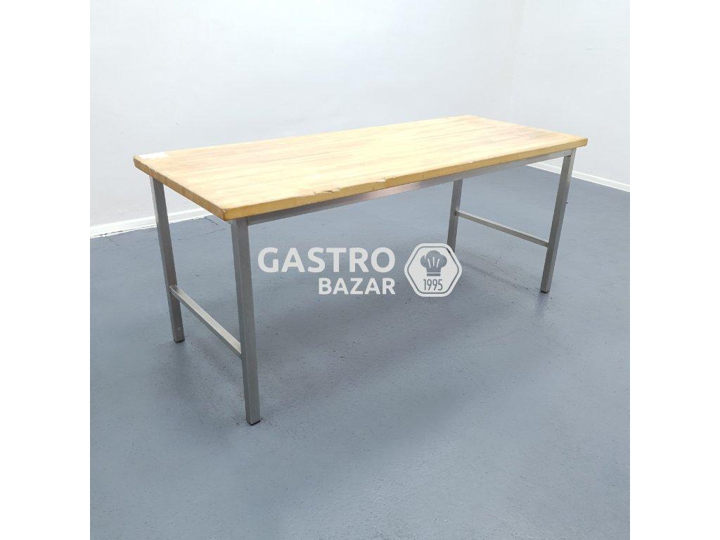 Nerezový stůl s dřevěnou deskou 200x80x86