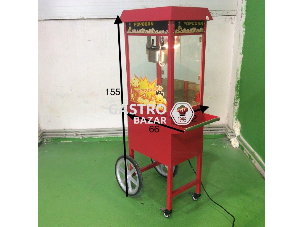 Stroj na popcorn s vozíkem - červený 155*42*66 použitý