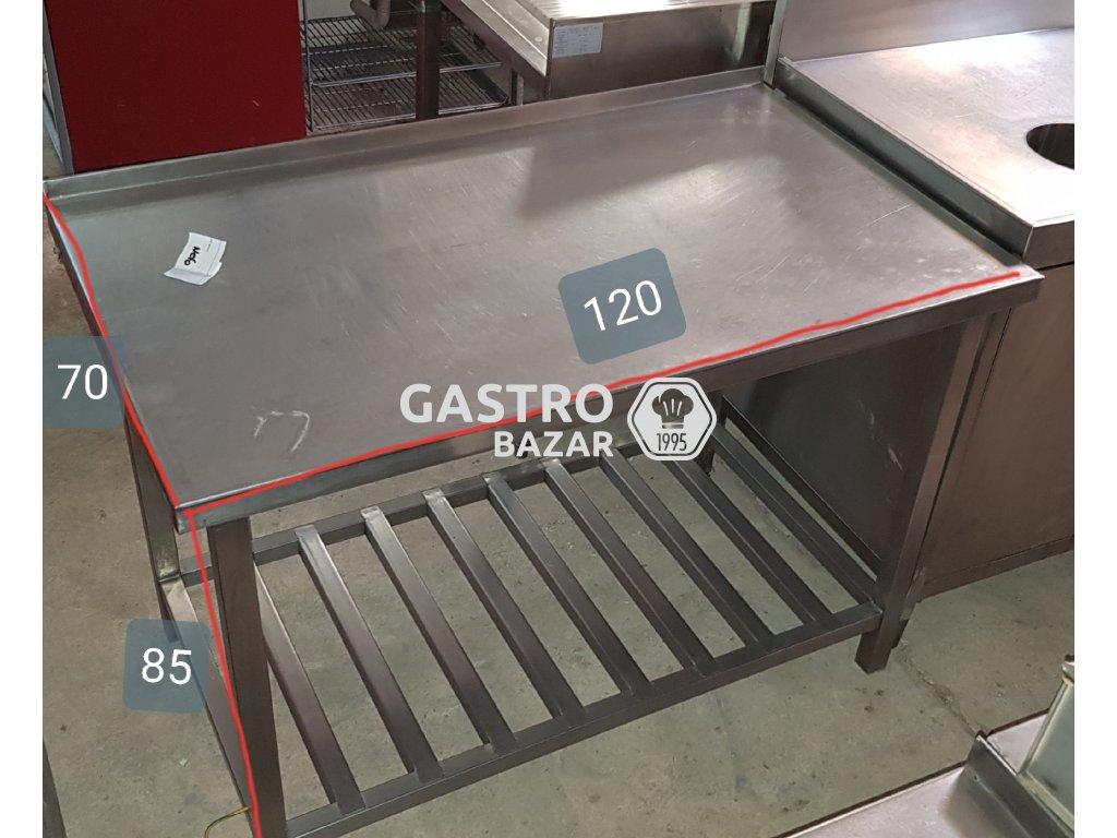Nerezový stůl 120x70x85 se spodní polící a zadním lemem