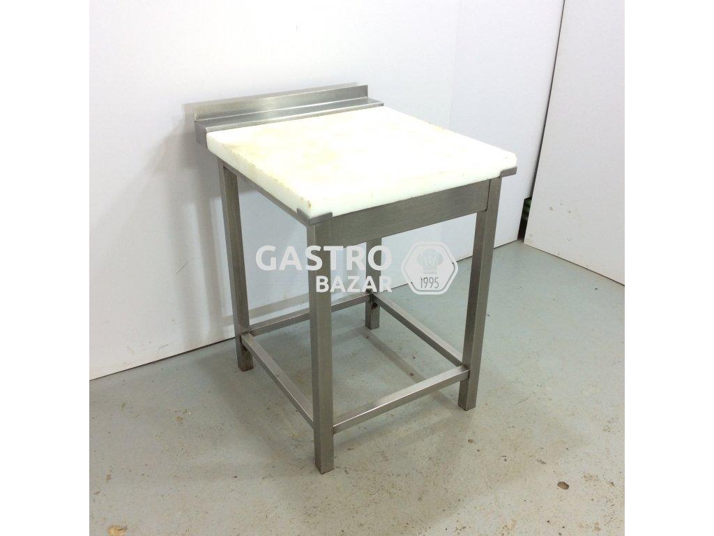 Nerezový špalek s polyetylen deskou a zadním lemem 61x70x86