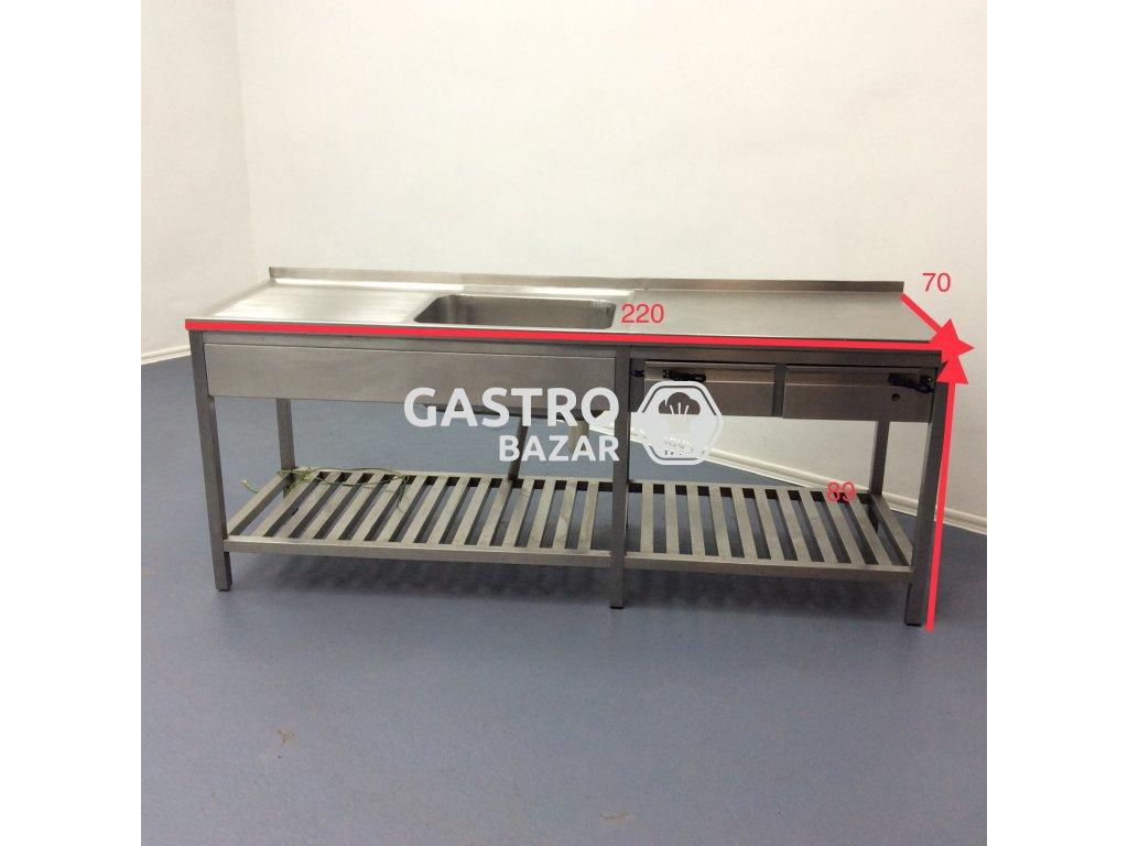 Nerezový stůl s dřezem 2x šuplík-  220x70x89 cm