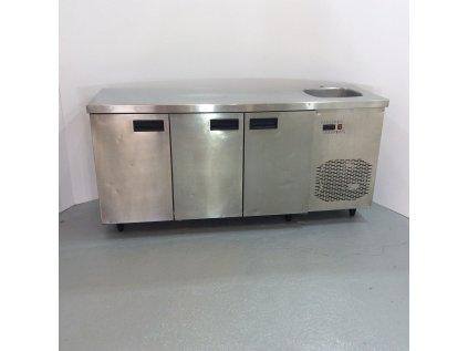 Chladící stůl 3x dveře + dřez 180x60x86 - nový motor