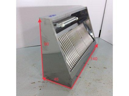 Nástěnná digestoř 1,4 m - s motorem, ovladačem, filtrem a světlem- hloubka 900 mm