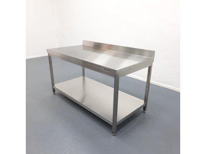 Nerezový pracovní stůl PREMIUM -  1600 x 800 x 970 mm se spodní policí a zadním lemem