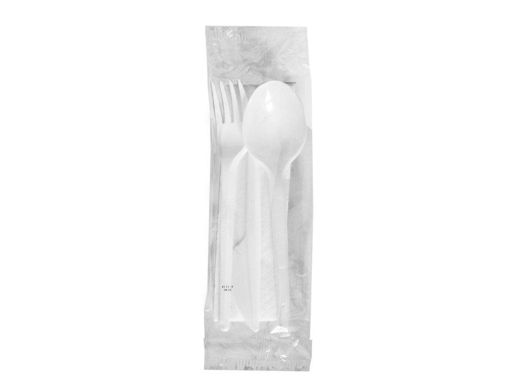 Sada (nůž + vidlička + lžíce + ubrousek) hyg. balené