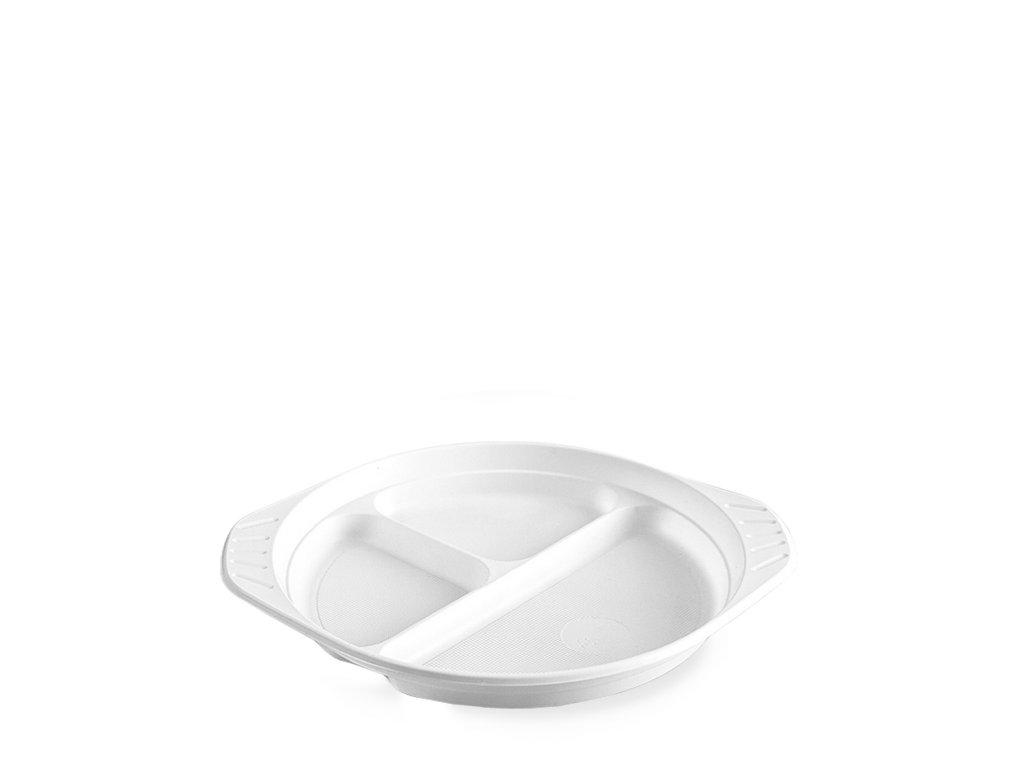 Talíř s oušky dělený na 3 porce, bílý (PP) Ø 22 cm