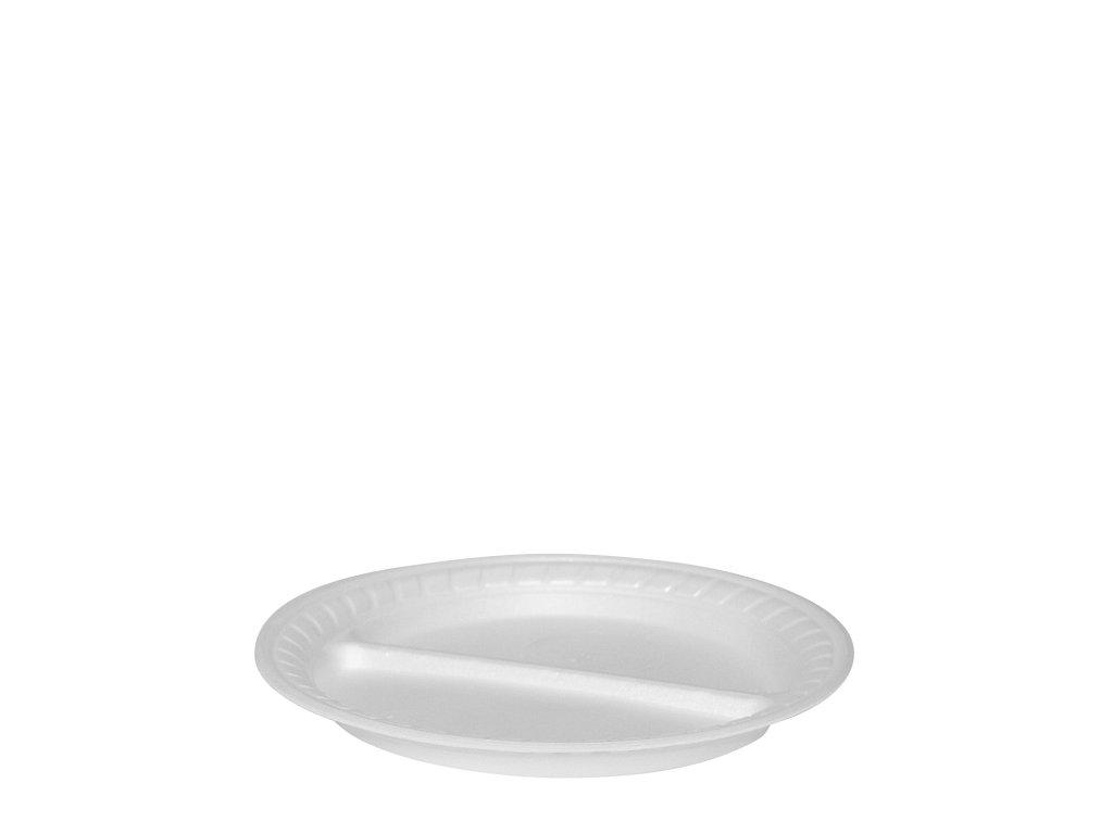 Termo-talíř dělený na 2 porce, bílý Ø 22,5 cm