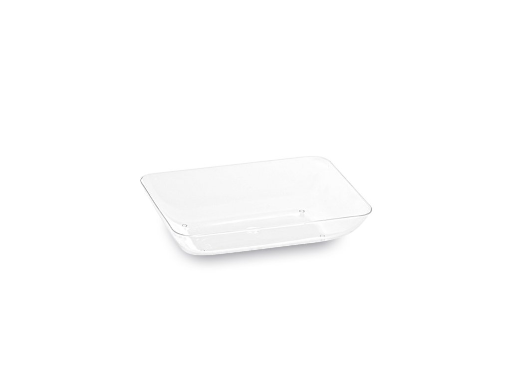 Fingerfood talířek obdelníkový, čirý 7,7 x 5,2 x 1,6 cm