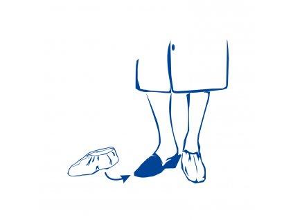 Jednorázové návleky na obuv modré 40×14cm (CPE)