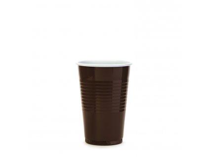 Kávový kelímek hnědo-bílý 0,2 l -PP- (Ø 70 mm)