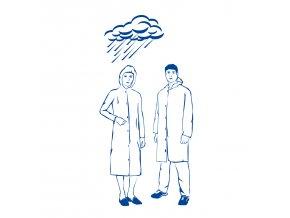 Plášť pro návštěvy/pláštěnka s kapucí (PE)