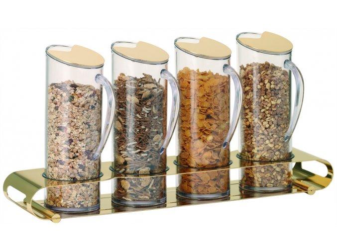 Frilich Elegance müsli musli bar dávkovač 4 plastové nádoby po 1,5 l uzávěr pro bufet snídaně GOLD