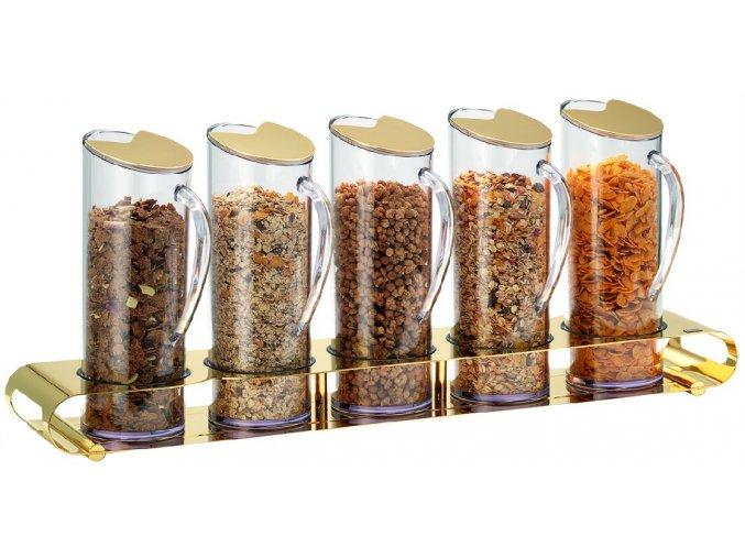 Frilich Elegance müsli musli bar dávkovač 5 plastové nádoby po 1,5 l uzávěr pro bufet snídaně GOLD