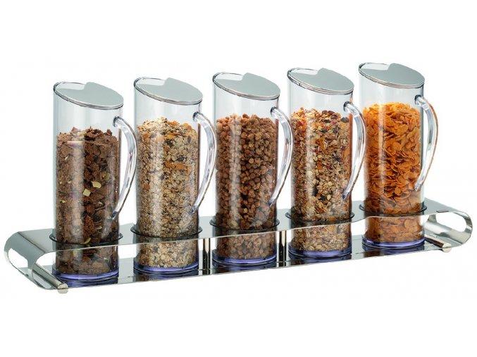 Frilich Elegance müsli musli bar dávkovač 5 plastové nádoby po 1,5 l uzávěr pro bufet snídaně NEREZ
